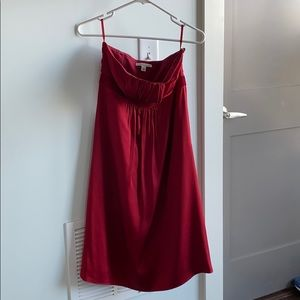 Size 4 Strapless Red Silk Banana Republic Dress